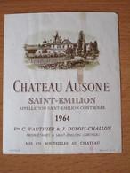ETIQUETTE DE VIN SAINT-EMILION CHATEAU AUSONE 1964 - Bordeaux