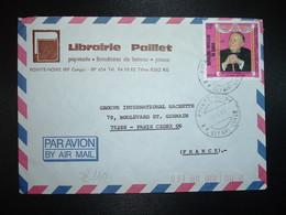 LETTRE Pour La FRANCE TP MORT DE RAOUL FOLLEREAU F OBL.7-1 88 POINTE NOIRE RP DEPART CONGO + LIBRAIRIE PAILLET - Congo - Brazzaville