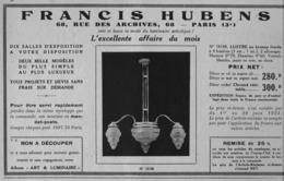"""PUB  LUMINAIRES LUSTRES  """"ART DECO """" """" HUBENS """"   1933 ( 4 ) - Luminaires"""