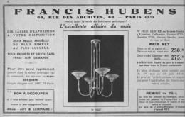 """PUB  LUMINAIRES LUSTRES  """"ART DECO """" """" HUBENS """"   1933 ( 5 ) - Luminaires"""