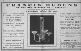 "PUB  LUMINAIRES LUSTRES  ""ART DECO "" "" HUBENS ""   1933 ( 5 ) - Lamps"