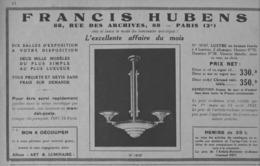 """PUB  LUMINAIRES LUSTRES  """"ART DECO """" """" HUBENS """"   1933 ( 6 ) - Luminaires"""