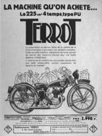 "PUB MOTO  ""  TERROT 225 Cm3 4 TEMPS TYPE PU ""  1933 ( 2 ) - Motos"