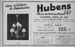 """PUB  LUMINAIRES LUSTRES  """"ART DECO """" """" HUBENS """"   1933 ( 7 ) - Luminaires"""