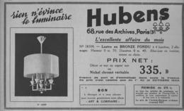 """PUB  LUMINAIRES LUSTRES  """"ART DECO """" """" HUBENS """"   1933 ( 8 ) - Luminaires"""