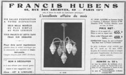 """PUB  LUMINAIRES LUSTRES  """"ART DECO """" """" HUBENS """"   1933 ( 9 ) - Luminaires"""