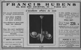 """PUB  LUMINAIRES LUSTRES  """"ART DECO """" """" HUBENS """"   1933 ( 10 ) - Luminaires"""