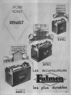 "PUB BATTERIE  ""  FULMEN   ""  Et "" RENAULT ""  1933 (4) - Other"