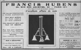 """PUB  LUMINAIRES LUSTRES  """"ART DECO """" """" HUBENS """"   1933 ( 11 ) - Luminaires"""