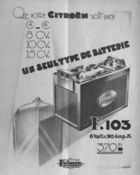 "PUB BATTERIE  ""  FULMEN   ""  Et   CITROEN  1933 (6) - Other"