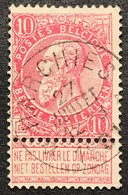 N. 58, 10 Cent Rose, Obl. Depots-relais Harchies 27/7/1901, NIPA 250 - 1893-1900 Fine Barbe