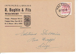 CP Publicitaire WALCOURT 1952 - R. BUGHIN & Fils -  Imprimerie - Librairie - Papeterie - Walcourt