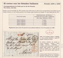 "1843. ROMA A MADRID. FECHADOR Y MARCA ""PF"" (PAGADO FRONTERA"". TRÁNSITOS. PORTEO 9 REALES AZUL. AL DORSO ""24"" DÉCIMAS"" - 1. ...-1850 Prephilately"