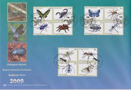 United Nations Cancellations Vienna, Geneva And NY - 2009 - FDC Endangered Species - Butterly - Scorpion - Beetle - Spid - Gezamelijke Uitgaven New York/Genève/Wenen
