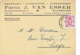 PK Publicitaire WATERSCHEI 1947 -Firma J. VAN ESSER  - Drukkerij - Boekhandel - Boekbinderij - Genk