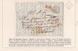 """1844. ROMA A MADRID. FECHADOR Y MARCA """"PF"""" PAGADO FRONTERA. TRÁNSITOS. """"31"""" REALES AZUL MADRID. AL DORSO """"81"""" DÉCIMAS. - 1. ...-1850 Prephilately"""