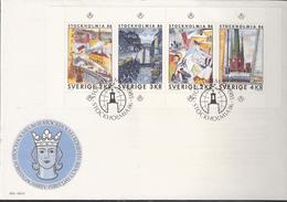 Sweden 1985 International Stamp Exhibition STOCKHOLMIA '86, Stockholm (III): Stockholm In Art  Mi 1336-1339 FDC - Svezia