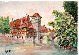AQUARELLE PONT DU BOURREAU NUREMBERG ALLEMAGNE PEINTURE Peintre - Watercolours