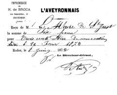 RECU PAIEMENT TVX D' IMPRIMERIE  FACTURES MAIRIE DE ST-JUST  EN 1872 - 1800 – 1899