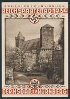 """90553) Dt. Reich 1934, Propaganda Parteitage, Colorierte Karte """"Burg"""" Gelaufen Mit Werbestempel Nach Itzehoe - Allemagne"""