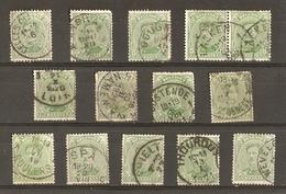 Belgique 1915/19 - Albert Ier Cob 137 - Petit Lot De 14° - Celles - Ensival - Gougnies - Laeken - Luik - Namen - Wevelge - 1915-1920 Albert I