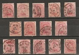 Belgique 1915/19 - Albert Ier Cob 138 - Petit Lot De 14° - Averbode - Gosselies - Jumet - Langemarck - Leuze - StTrond - 1915-1920 Albert I