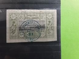 COTE Des SOMALIS , 1894, Vue De Djibouti, Yvert No 17, 1F Franc Olive Et Noir Obl Centrale  TTB ! - Costa Francesa De Somalia (1894-1967)