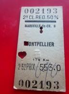 1954-Titre Transport Billet Ticket Simple 50% Redu-2é Classe Chemins De Fer-Marseille St Charles/Montpellier-174km/553fr - Chemins De Fer