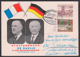 DE GAULLE Mit Konrad Adenauer, Staatsbesuch In Der BRD, Schmuckkarte Mit Bahnpostst. 8.9.62 - [7] République Fédérale