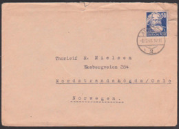 SBZ 224, 50 Pf. Karl Marx Portogenau, Auslandsbrief 8.12.49, Apolda Nach Nordstrandshögda / Osla, Köpfe I - Zone Soviétique