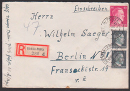 Stettin-Pölitz R-Brief Mit 1 Pf(2) Und 40 Pf. Hitler Portogenau Nach Berlin - Duitsland