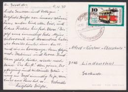 """DDR Schiffspost """"M.S. Völkerfreudschaft"""" Auf Ak Urlauberschiff, 10 Pf Frankatur Historische Straßenbahn, 11.10.77 - DDR"""