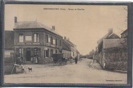 Carte Postale 60. Berthecourt  Epicerie Faïencerie Tabac Route De Noailles Attelage Animée Très Beau Plan - Francia