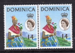 DOMINICA - 1965 QE II DEFINITIVE 14c STAMP TYPE II EYES RIGHT PAIR FINE MNH ** SG171a X 2 - Costumes