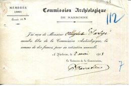 11.AUDE.NARBONNE.REÇU.COMMISSION ARCHEOLOGIQUE. - Non Classificati