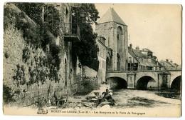 CPA 77 Seine Et Marne Moret Les Remparts Et La Porte De Bourgogne Animé Lavandières - Moret Sur Loing