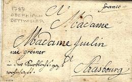 "1787- Letter From Oberkirch Dettwiller  To Strasbourg ( France ) "" Franco "" - Deutschland"