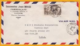 1949 - GUYANE - France - Enveloppe Par Avion De Cayenne à New York, USA - Affrt 40 F YT 217 Seul  Aras - Guyane Française (1886-1949)