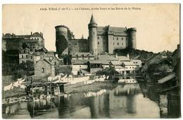 CPA 35 Ille Et Vilaine Vitré Le Château Partie Nord Et Bords De La Vilaine Animé Lavandières - Vitre