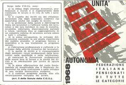 """1773 """" TESSERA SINDACATO CGIL - 1968 """" DOCUMENTO ORIG. - Non Classificati"""