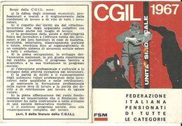 """1774 """" TESSERA SINDACATO CGIL - 1967"""" DOCUMENTO ORIG. - Non Classificati"""