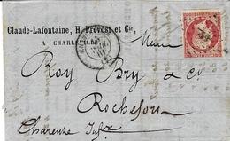 1861- Lettre De CHARLEVILLE ( Ardennes ) Cad T15 Affr. N°17 B  Rose SEUL ( 3 Marges ) - 1849-1876: Période Classique