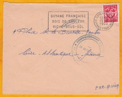 1960 - GUYANE - France - Enveloppe Par Avion De Cayenne à Nantes, France - Franchise Militaire - Cachet Commandant - Guyane Française (1886-1949)