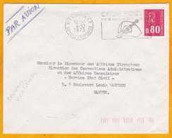 1975 - GUYANE - France - Enveloppe Par Avion De Cayenne à Nantes, France - 0.80 F Béquet - OMEC Code Postal - Guyane Française (1886-1949)