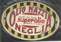 """1776 """" OLIO MAZZIA-OLIO DI SEMI-ONEGLIA-IMPERIA-CARTONCINO OVALE"""" ETICHETTA ORIG. - Etichette"""