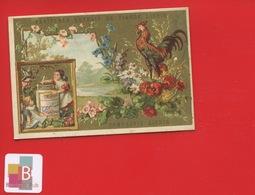 LIEBIG - Oiseau Coq Fleurs Coquelicot Bleuet Marguerite Patriotisme France , Imprimerie Hutinet - Chromo Dorée Série 101 - Liebig