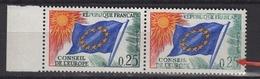 Variété Du Conseil De L'Europe 0,25 N° S28 Neuf Sans Charnière, Impression Défectueuse Surtout Timbre De Droite - Errors & Oddities