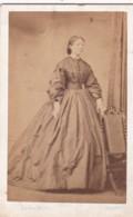 ANTIQUE CDV PHOTO -STANDING LADY. LONG HOOPED DRESS.  HERTFORD STUDIO - Photographs