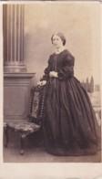 ANTIQUE CDV PHOTO - LADY BY CHAIR. LONG DRESS.  CAMBRIDGE  STUDIO - Photographs