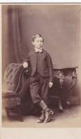 ANTIQUE CDV PHOTO - YOUNG BOY. SHORT LONG TROUSERS.  WEYMOUTH STUDIO - Anciennes (Av. 1900)